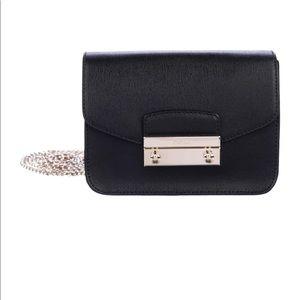 Brand new!Furla black leather crossbody chain bag
